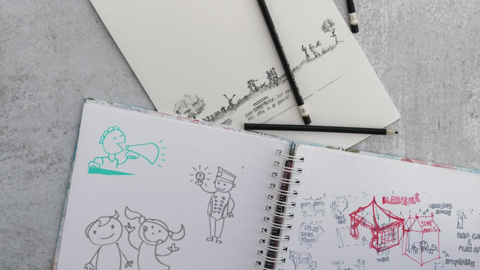 Illustrations,sketches and idea generation for design