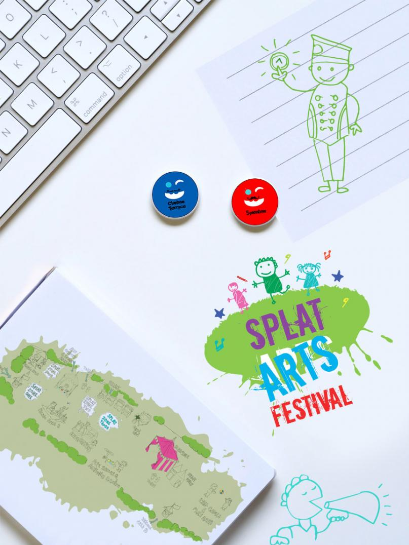 Splat Arts Festival pin bages and bespoke map illustration